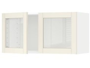 IKEA METOD Wandschrank mit 2 Vitrinentüren weiß/Hittarp elfenbeinweiß 80x40 cm