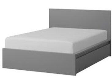 IKEA MALM Bettgestell hoch mit 2 Schubkästen grau las. 140x200 cm