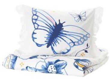 IKEA SÅNGLÄRKA Bettwäscheset, 2-teilig Schmetterling/weiß blau 140x200/80x80 cm