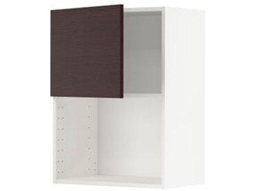 IKEA METOD Wandschrank für Mikrowellenherd weiß Askersund/dunkelbraun Eschenachbildung 60x80 cm