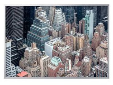 IKEA BJÖRKSTA Gerahmtes Bild New York von oben/aluminiumfarben 200x140 cm