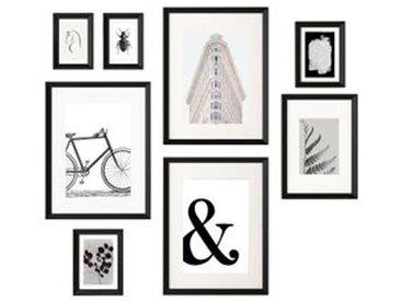 IKEA KNOPPÄNG Rahmen mit Bild 8er-Set Objekt in Schwarz und Weiß