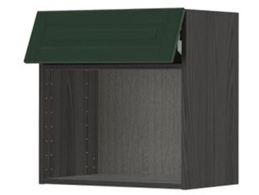 IKEA METOD Wandschrank für Mikrowellenherd schwarz/Bodbyn dunkelgrün