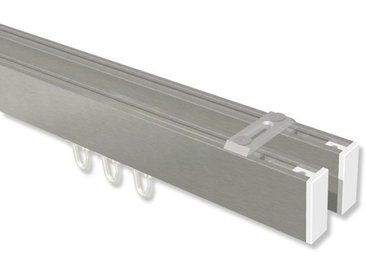 Innenlaufstangen / Decken-Vorhangstangen Edelstahl-Optik / Weiß zweiläufig eckig Smartline Paxo 100 cm