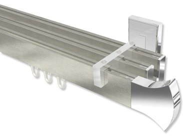 Innenlaufstangen / Vorhangstangen Edelstahl-Optik / Chrom dreiläufig kantig Smartline Conex 100 cm
