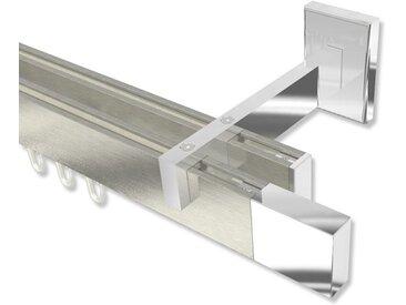 Innenlauf-Gardinenstangen Edelstahl-Optik / Chrom doppelläufig kantig Smartline Lox 100 cm