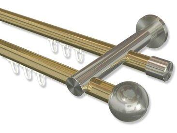 Innenlauf-Gardinenstangen Messing-Optik / Edelstahl-Optik 20 mm Platon Luino, 2-läufig 100 cm