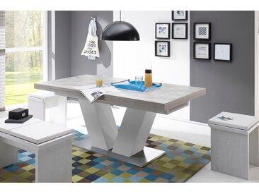 Ess-Tisch »Komfort D«, mit V-Gestell in weiß und mit Auszugsfunktion, Breite 180-260 cm
