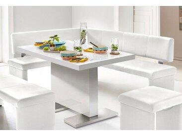 Eck-Bank, 194x83x149 cm (BxHxT), Homexperts, weiß, Material Kunstleder, Pflegeleichtes Kunstleder
