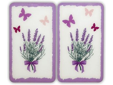 Herd-Abdeckplatte, beige, Material Glas »Lavendel-Bouquet«, WENKO