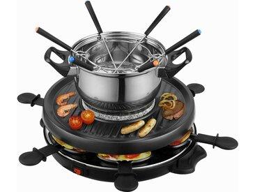 Team Kalorik Raclette-Grill und Fondue-Set TKG RAC 1010 FO, 6 Raclettepfännchen, 800 W
