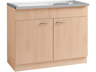Spülenschrank »Kiel«, 100x85x50 cm (BxHxT), wiho Küchen, beige, Material Buche, Holzwerkstoff, Kunststoff, Metall