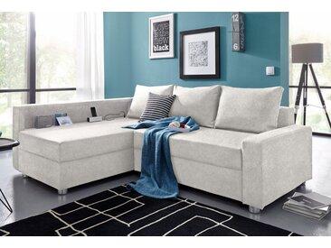 COLLECTION AB Eck-Sofa, inklusive Bettfunktion, Bettkasten und Federkern, wahlweise mit RGB-LED-Beleuchtung und USB-Port, Inklusive seitlichem Regalboden, Ottomane links oder rechts montierbar