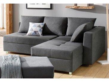 Home affaire  Eck-Couch , mit Bettfuntion und Bettkasten, mit Federkern, Ottomane rechts oder links, grau »Italia«, mit Schlaffunktion