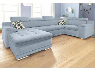 sit&more Wohnlandschaft, mit Bettfunktion, Récamiere rechts oder links, FSC®-zertifiziert, blau, mit Schlaffunktion, frei stellbar