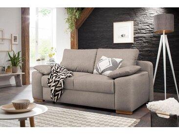 Home affaire  Schlaf-Sofa  »Campine de luxe«, 2-Sitzer, mit Bettfunktion, Landhaus-Stil, grau, mit Schlaffunktion, mit Topper