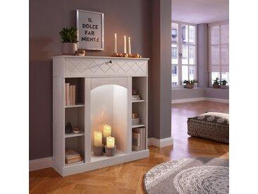 Home affaire  Kaminumbauschrank  inklusive LED Beleuchtung, FSC®-zertifiziert, weiß, Material Kiefer »Abau«, mit LED-Beleuchtung»Abau«