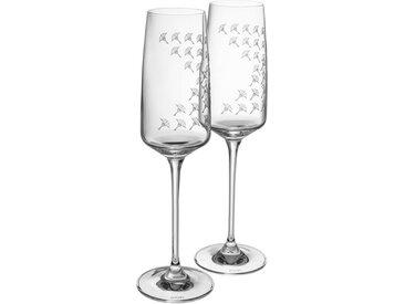 Joop! Champagnerglas »JOOP! FADED CORNFLOWER« (2-tlg), hochwertiges Kristallglas mit Kornblumen-Verlauf als Dekor