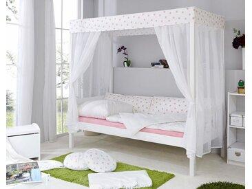 Himmelbett, 90x200 cm, FSC®-zertifiziert, weiß, Material Kiefer »Lino«, Ticaa