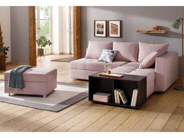 Home affaire  Eck-Couch , mit Bettfuntion und Bettkasten, mit Federkern, Ottomane rechts oder links, rosa »Italia«, mit Schlaffunktion