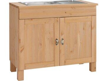 Home affaire Spülenschrank »Oslo«, FSC®-zertifiziert, beige, Material Kiefer / Metall»Oslo«
