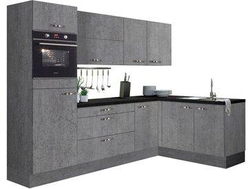 Winkelküche, grau, Material Metall »Cara«, OPTIFIT, strapazierfähig