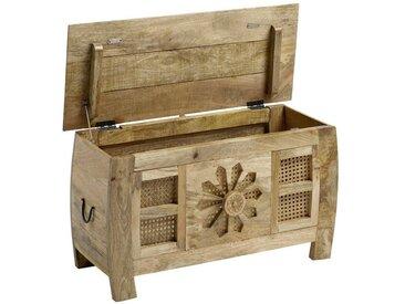 Sitztruhe, FSC®-zertifiziert, beige, Material Massivholz / Holz, heine home