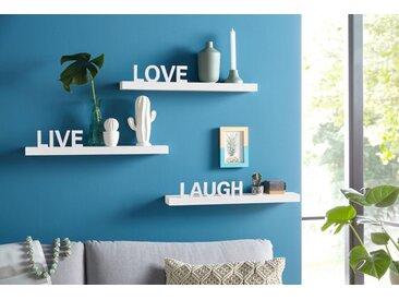 Home affaire Wandregal »Live - Love - Laugh«, 60x10x10,5 cm, FSC®-zertifiziert, weiß