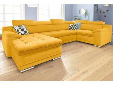 Wohnlandschaft, 336x93x95 cm (BxHxT), Wahlweise mit Bettfunktion, Récamiere rechts oder links, FSC®-zertifiziert, sit&more, gelb, Material Holzwerkstoff, frei stellbar