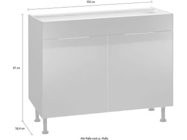 Spülenunterschrank  Breite 100 cm »Tara«, grau, OPTIFIT, Soft-Close-Funktion