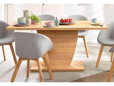Säulen-Esstisch, 160x75x90 cm (BxHxT), FSC®-zertifiziert, Homexperts, braun, Material Holzwerkstoff