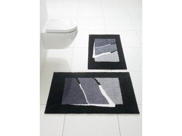 Badezimmer-Garnitur mit modernen Streifen, schwarz, Material Polyacryl, Grund, Gemustert
