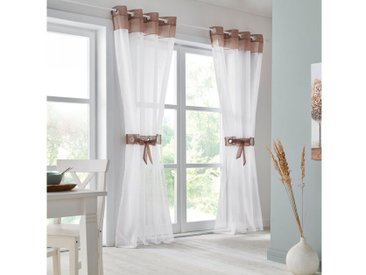 my home Vorhang , H/B: 145/140 cm, braun, Material Stoff / Voile »Villars«