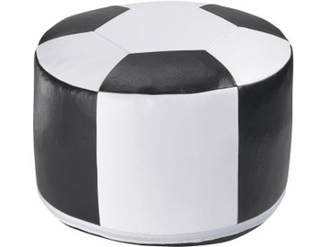 Home affaire Pouf, B/T/H: 50x50x34 cm, weiß, Material Kunstleder »Fußball«