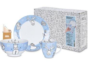 Kindergeschirr-Set »Colour your own Christmas«, blau, Material Porzellan, Könitz, Motiv