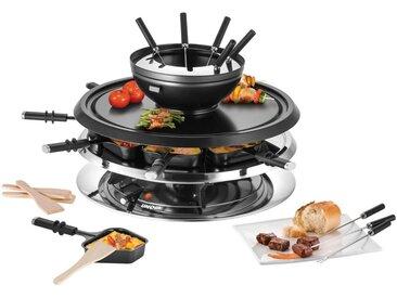 Unold Raclette und Fondue-Set Multi 4 in 1 - 48726, 8 Raclettepfännchen, 1300 W
