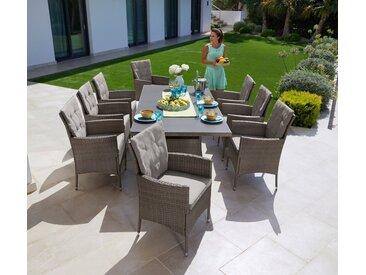 KONIFERA Gartenmöbelset »Mailand«, (25-tlg), 8 Sessel, Tisch 200x100 cm, Polyrattan