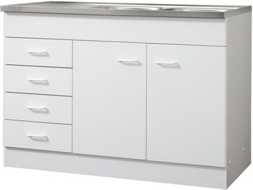 Spülenschrank »Elster«, 120x85x60 cm (BxHxT), Held Möbel, weiß, Material Edelstahl