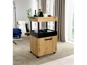 Barschrank, 50.2x88.6x41.1 cm (BxHxT), FORTE, Material Eiche, Holzwerkstoff, Kunststoff, Metall