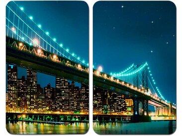 Herdabdeckplatte , schwarz, Material Glas »Brooklyn Bridge«, WENKO