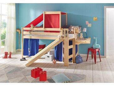 Hoch-Bett Die Treppe ist links oder rechts montierbar, 90x200 cm, beige, Material Kiefer, silenta