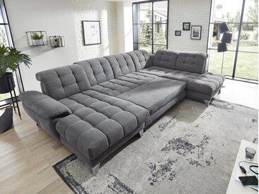 Places of Style Wohnlandschaft »Bardi Luxus«, belastbar bis zu 140 kg, incl. Sitztiefenverstellung, wahlweise mit Kopfteil- und Armlehnverstellung, Bettfunktion und Bettkasten
