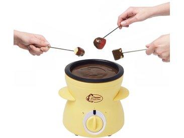 bestron Fondue Mini-Schokofondue-Set, 0,3 l, für 2 Personen, inkl. 10xSpieße, 10xGabeln und 1xSpachtel, 25 Watt, Gelb