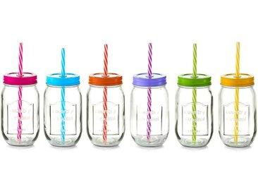 Zeller Present Gläser-Set »Color Lid« (6-tlg), Mit Deckel und Strohhalm