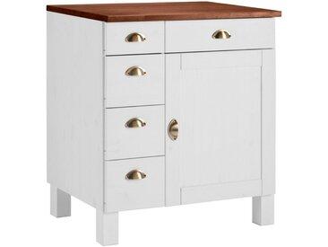 Home affaire Unterschrank »Oslo«, 75 x 85 x 60 BxHxT cm, FSC®-zertifiziert, weiß, Material Kiefer / Metall