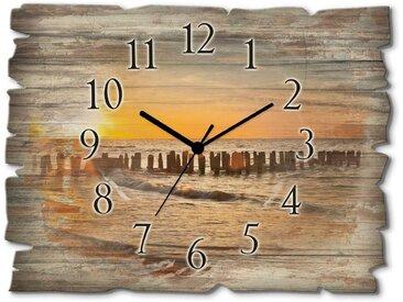 Wand-Uhr »Schöner Sonnenuntergang am Strand«, 40x30x0.6 cm (BxHxT), Artland, Material Holz