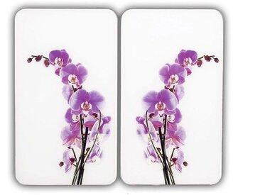 Herdabdeckplatte , weiß, Material Glas »Orchideenblüte«, WENKO