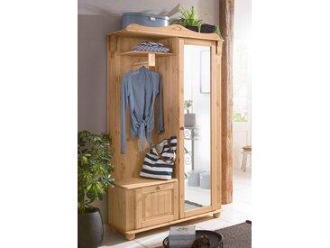 Home affaire Kompaktgarderobe »Adele«, 108 x 185 x 40 BxHxT cm , Landhaus-Stil, FSC®-zertifiziert, beige, Material Massivholz
