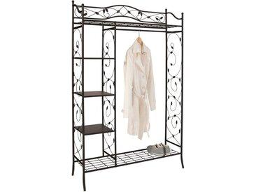 Garderobenschrank, 110x172x42 cm (BxHxT), Landhaus-Stil, Home affaire, schwarz, Material Metall