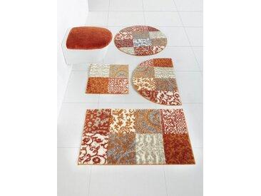 Badezimmer-Garnitur mit elegantem Muster, orange, Material Polyacryl, Grund